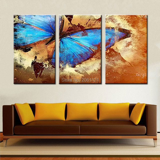 Hand Painted Blue Butterfly Oil Painting On Canvas Retro Picture Abstract  Color Wall Art For Living