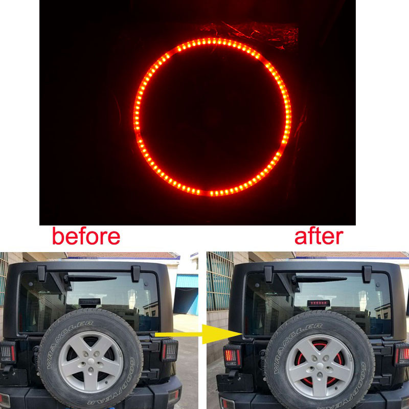 For Jeeps Light Accessories 3rd Spare Tire Brake Light LED Ring for 97-17 Jeep Wrangler JK TJ LJ YJ CJ auxmart 22 led light bar 3 row 324w for jeep wrangler jk unlimited jku 07 17 straight 5d 400w led light bar mount brackets