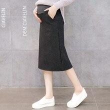Зимняя Регулируемая высокая талия однотонный для беременных средняя удлиненная юбка с боковыми карманами для беременных женщин корейский стиль хлопок юбки