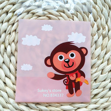 100pcs/lot 2size Cute monkey Cookie plastic bags 10x10cm self adhesive bags for biscuits snack baking package(China (Mainland))