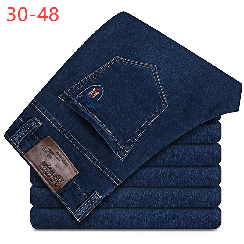 2018 Summer Classic Stretch Baggy   Jeans   Big Size 30-48 Men Brand Demin Menswear Blue Pants Elastic Casual Male Trousers CQY08