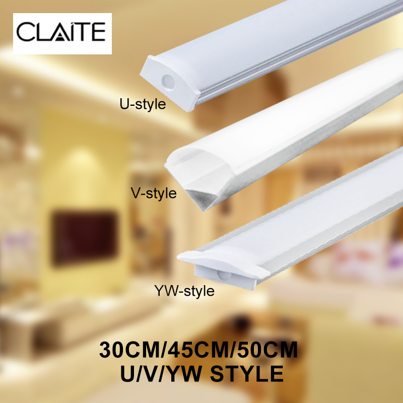 CLAITE 30cm 45cm 50cm U V YW Three Style Aluminium Channel Holder For LED Strip Light Bar Under Cabinet Lamp Kitchen 1.8cm Wide
