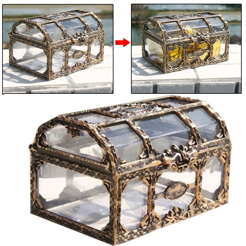 Pirate Design Coin Storage Box Treasure Chest Metal Lock Jewelry Beautiful Cases Ornament Storage Storage Box Fashion Holder