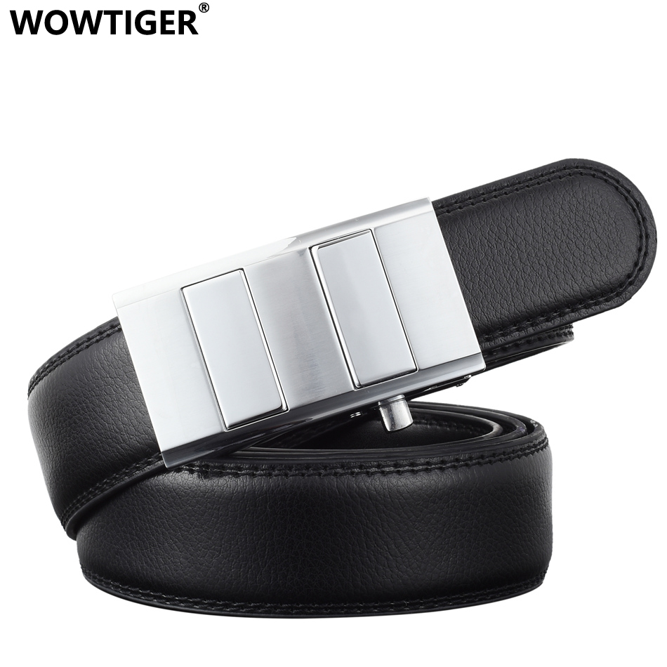WOWTIGER Créateur De Mode 3.5 cm De Luxe En Cuir Hommes Ceinture  Automatique ratchet ceinture homme 48dd656e651