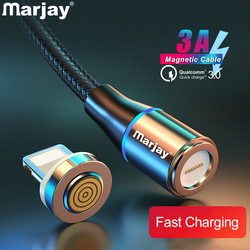 Marjay 3A Magnetic USB Cable 1m 2m Quick Charge 3.0 Fast USB Charging For iphone 7 8 Plus X Xs Max XR Magnet Charger Adapter