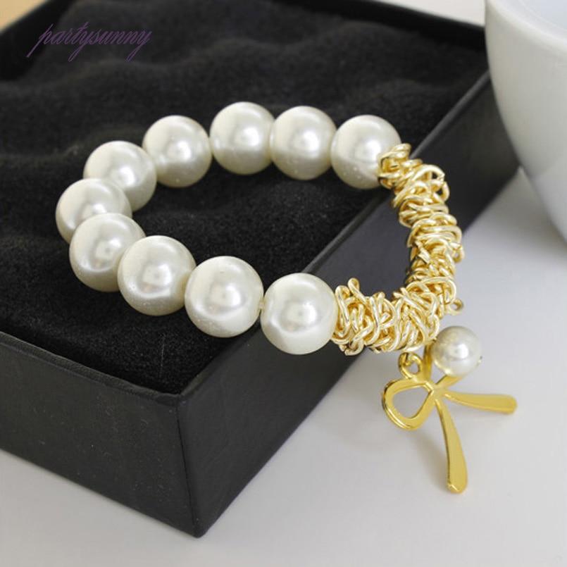 PF Simulation Perla Bracelet Exquisite Bangles for Women Beads Jewelry Trinket Wristband Elastic Chain Pulseras Bracelets SL007