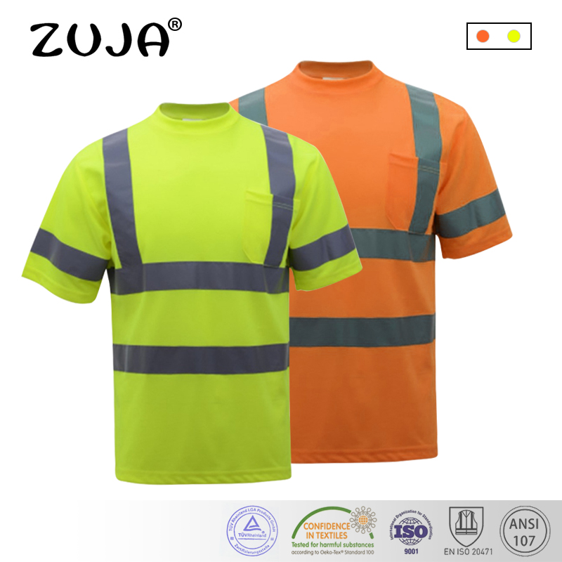 Hi-Viz SAFETY T-Shirt Orange/Yellow short sleeve reflective t-shirt summer dry fit breathable hi vis yellow work t shirt люстра ideal lux windsor sp8 022772