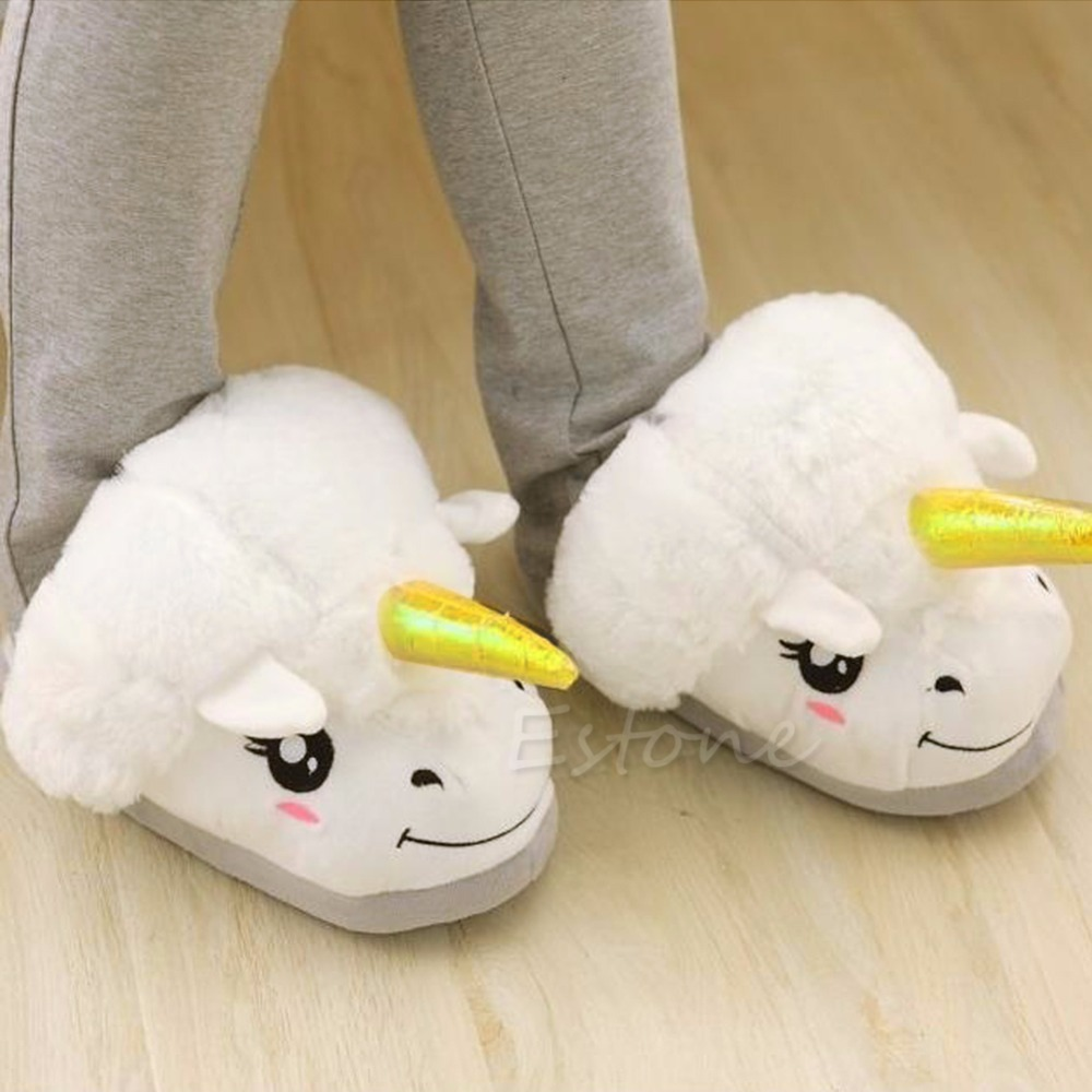 THINKTHENDO Adult Men Women Winter Warm Soft Plush Cute Unicorn Slippers Home Indoor Shoes soft plush big feet pattern winter slippers