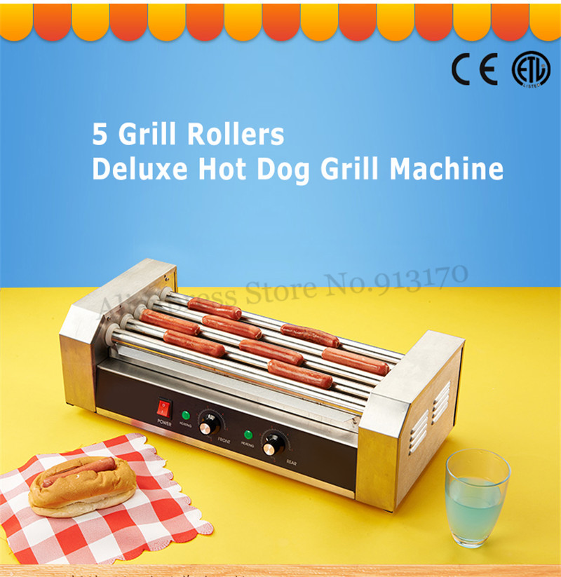 Electric Hotdog Cooker Grill Roller Machine Rolling Bun Sausage 5 Rollers Low Noise 1000W CE Approval