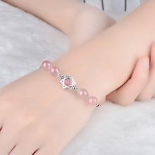LUKENI Luxury Crystal Pink Strawberry Bracelets For Women Jewelry Girl Trendy 925 Sterling Silver Lady Accessories Hot
