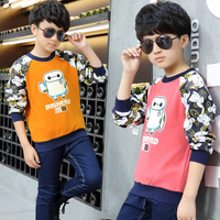 Male child t shirt long sleeve t shirt child 8 basic shirt 10 child cartoon 9 children's clothing autumn and winter 12