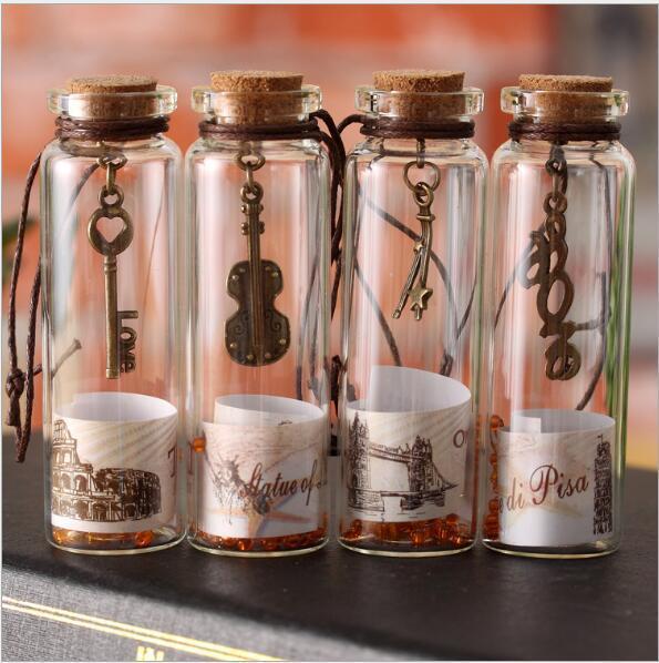 Creative gifts cute mini clear glass cork stopper wishing