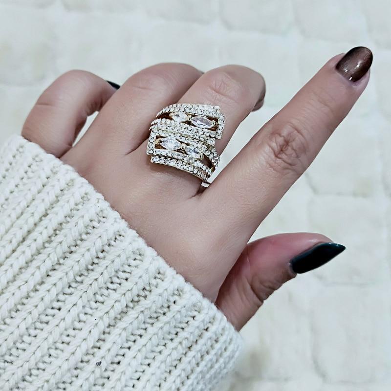 SINLEERY Ontwerp Luxe Micro Zirconia Verharde Cocktail Ring Goud / - Mode-sieraden