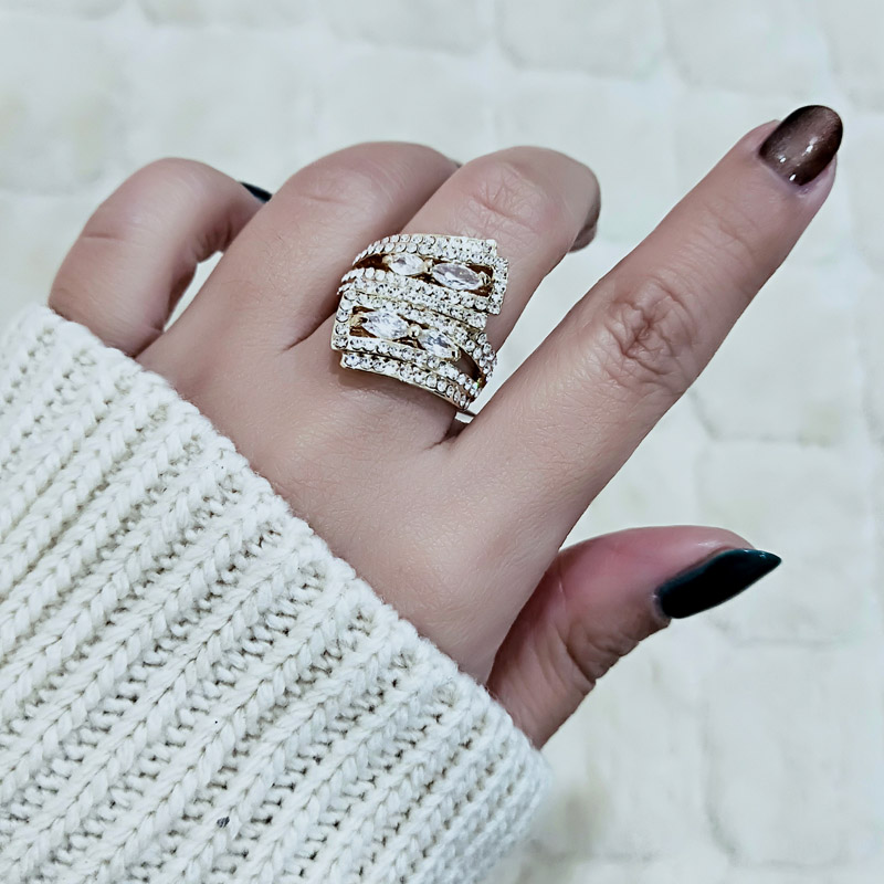 SINLEERY Design Luxus Micro Cubic Zirkónia Padded Cocktail Ring - Divatékszer