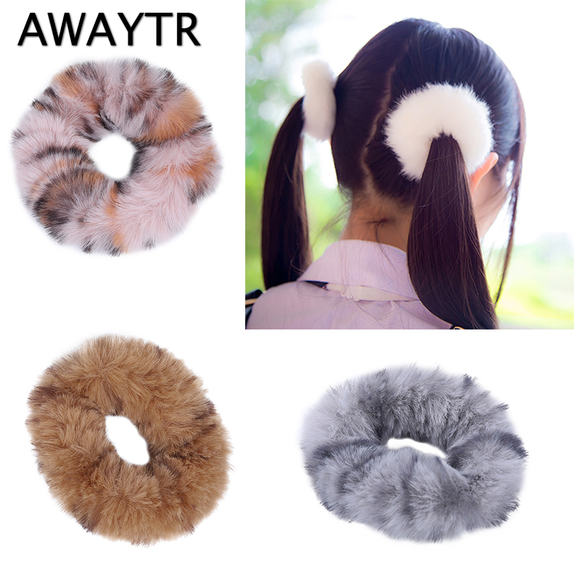 AWAYTR New Leopard Print Soft Plush Fur Scrunchies Girls Eastic Hair Band Rubber Hair Rope Women Hair Accessories  Hair Ties