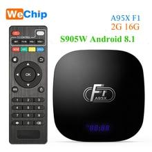 A95X F1 スマートアンドロイド 8.1 tv ボックス 2 ギガバイト 16 ギガバイト 2.4 3g wifi amlogic S905W クアッドコアメディアプレーヤー youtube の hd セットトップボックス pk X96 TX3 ミニ