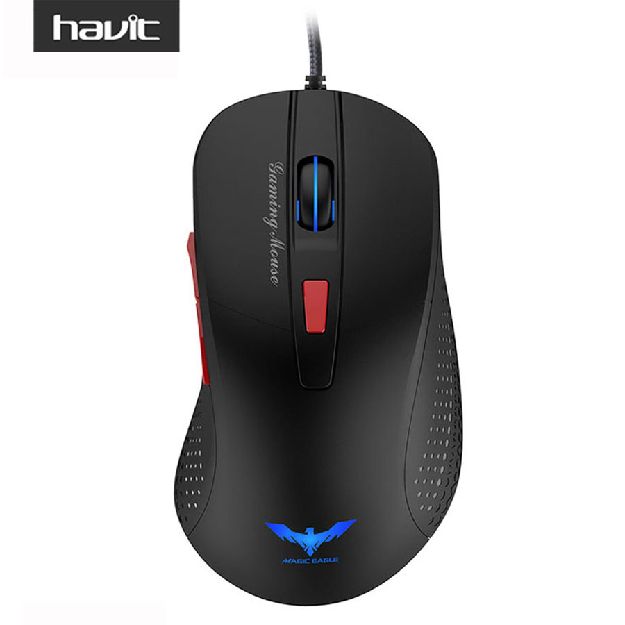 HAVIT Wired Gaming Mouse USB Optical LED Lights Mouse Gamer 2800 DPI with 6 Button For PC Laptop Desktop Computer Game HV-MS745