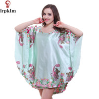 2017 Pink Floral Print Home Clothing Loose Style Faux Silk Nightgown Dressing Gown Women Women Pyjamas