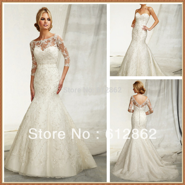 Two Piece Beaded Mermaid Long Tail Lace 3 4 Sleeve Wedding Dress