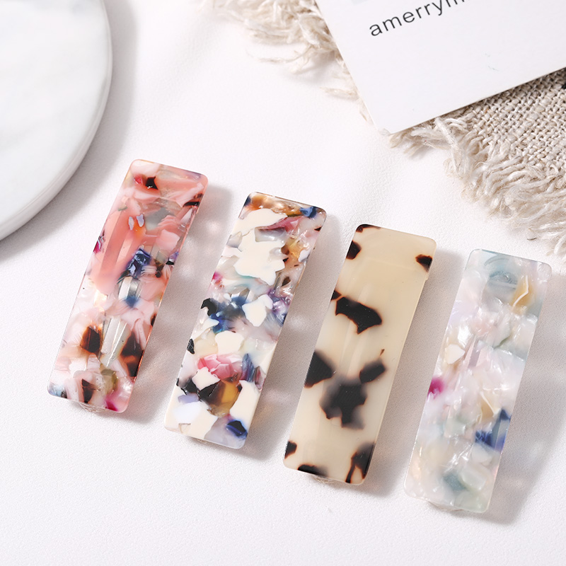 New Fashion Leopard Marble Pattern Acetate Hair Clips Women Girls Elegant BB Haripins Barrettes Hair Holder   Headwear   Headbands