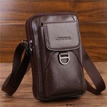 Bolsa de cintura masculina crossbody fanny bolsa de couro genuíno moda celular caso do telefone móvel mensageiro bolsa de ombro masculino cinto gancho pacote