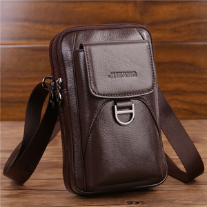 Image 1 - Bolsa de cintura masculina crossbody fanny bolsa de couro genuíno moda celular caso do telefone móvel mensageiro bolsa de ombro masculino cinto gancho pacote