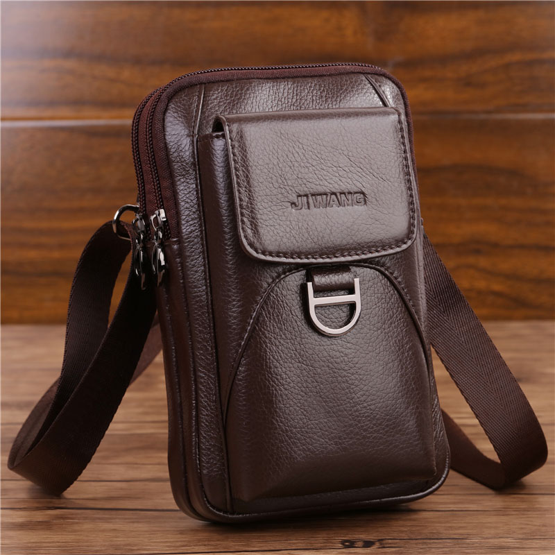 Men's Crossbody Fanny Waist Bag Genuine Leather Fashion Cell Mobile Phone Case Messenger Shoulder Bag Men Belt Hook Pack