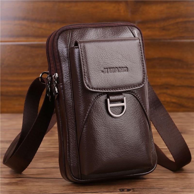 Men's Crossbody Fanny Waist Bag Genuine Leather Fashion Cell Mobile Phone Case Messenger Shoulder Bag Men Belt Hook Pack