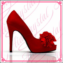 Aidocrystal custom Red lace bridal shoes fine with flowers peep toe High heel wedding shoes Satin dress shoes