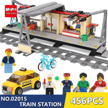 LEPINing Building Blocks toys 456Pcs 02015 Train Station Compatible with legoing City Series 60050 Brick DIY toys & hobbies YY30(China)
