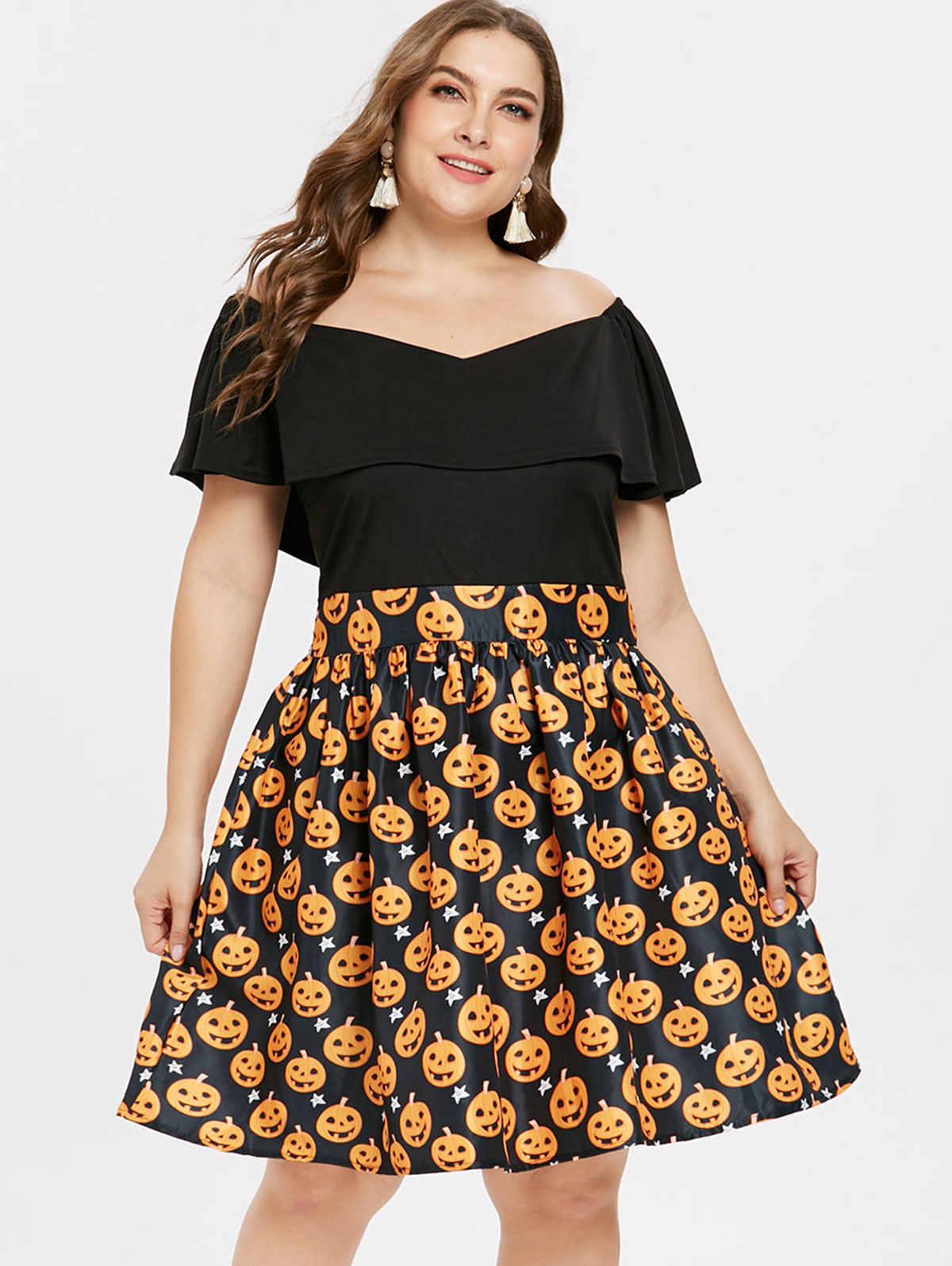Wipalo/Большие размеры, винтажные Вечерние платья на Хэллоуин, женские платья с воланом и тыквой, платья раструбом, платье трапециевидной формы, большие размеры