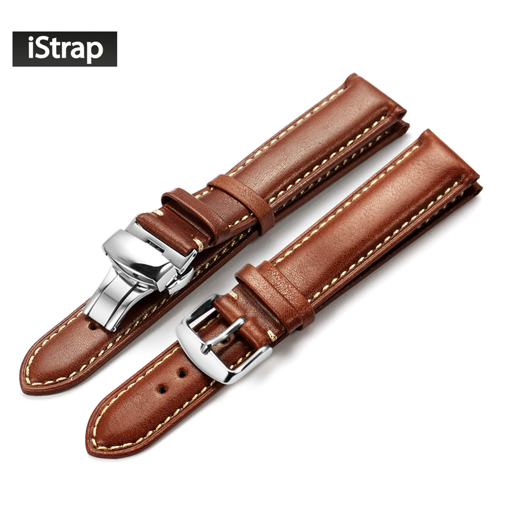 iStrap Watch Band 18mm 19mm 20mm 21mm 22mm Dark brown Genuine Leather Replacement Strap With Polished Silver Buckle For Tissot istrap 22mm handmade genuine calf leather padded replacement watch band for men black 22