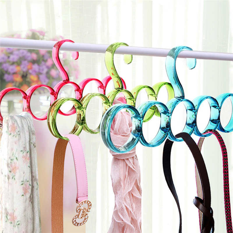 Image 2 - New listing Creative Storage Rack Scarf Hanger 5 Hole Storage Rack Multifunction Removable Tie Clothes Belt Shelf-in Storage Holders & Racks from Home & Garden