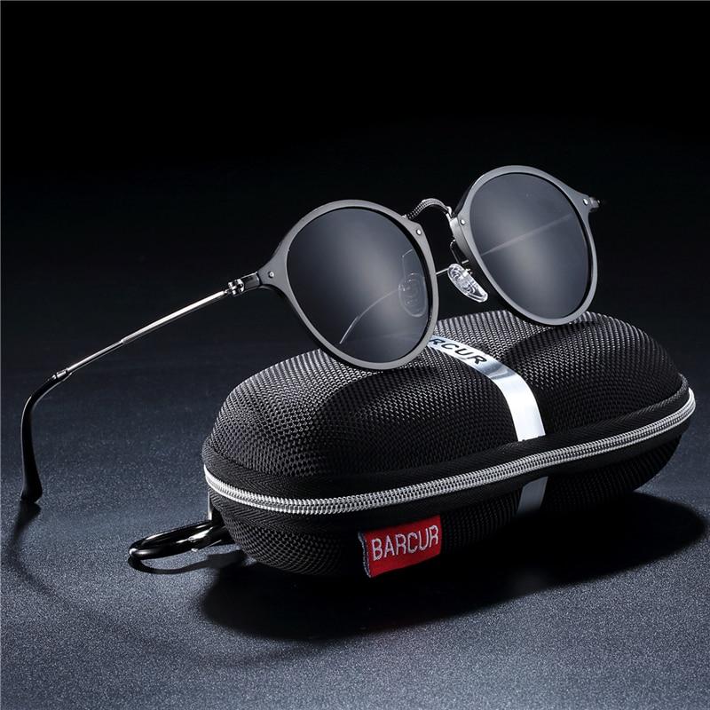 BARCUR Aluminum Vintage Sunglasses for Men Round Sunglasses Men Retro Glasses Male Famle Sun glasses retro oculos masculino