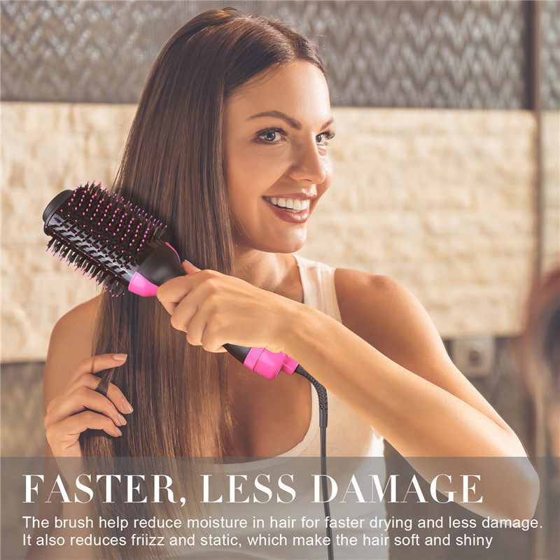 Image 2 - 2 In 1 Electric Pro Hair Dryer Brush Curling Iron Hair Curler Ions Ceramic Rotating Hairdryer Comb Blow Dryer Hair Styling Tool-in Curling Irons from Home Appliances