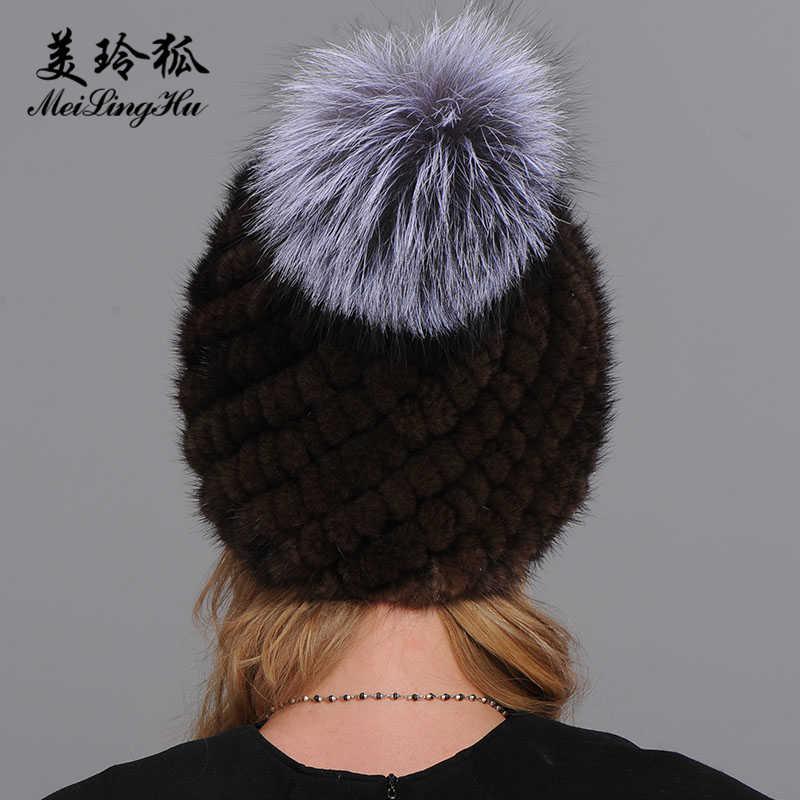 ... Winter Real Mink Fur Hats Women Warm Pineapple Cap Fox Fur Ball On The Top  Hat 03a6f2f3c79