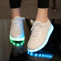 Usb led обувь детская светящаяся обувь кроссовки с детские светящиеся туфли для тапочки для девочек огни schoenen 45