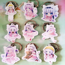 9PCS/SET Anime Keychain Anime Kobayashi san Chi no Maid Dragon Miss Kobayashi's Dragon Maid Kanna Kamui Keyrings Pendant