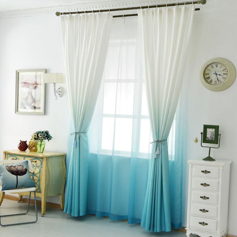 Modern 3D Print Curtains For Living Room Kids Bedroom Drapes Gradient Blue Cotton Curtain Fabric Single Panel Window Cortinas