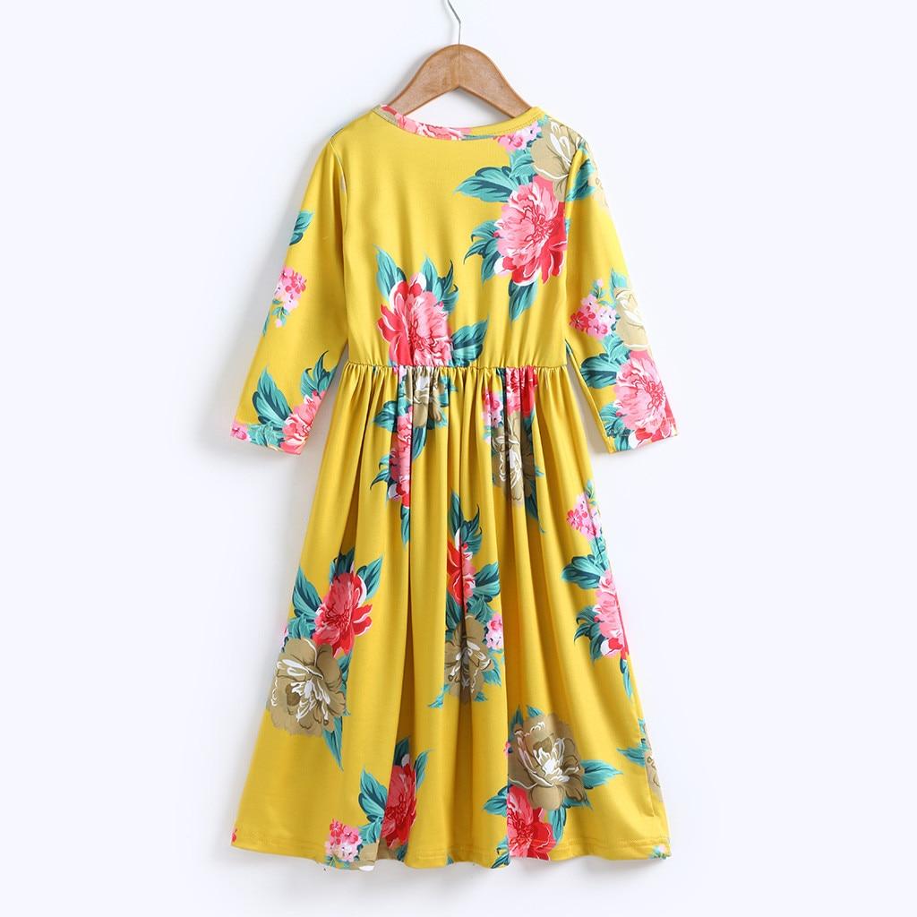 50f6b63dd7c89 TELOTUNY Fashion Toddler Baby Girl Kids 3/4 Sleeve Floral Pleated Casual  Princess Long Maxi Dress 2019 newst baby dress Z0208