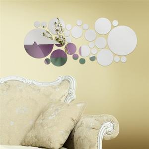Image 3 - 30 adet/takım DIY küçük yuvarlak nokta akrilik ayna etkisi Sticker duvar Sticker ayna yüzey duvar çıkartmaları ev dekorasyon 2 renk