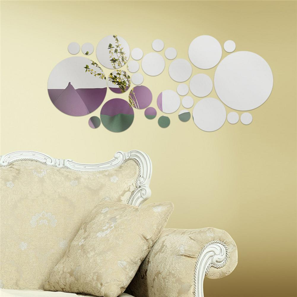 Image 3 - 30pc/set DIY Small Round Point Acrylic Mirror Effect Sticker Wall Sticker Mirror Surface Wall Stickers Home Decoration 2 Colors-in Wall Stickers from Home & Garden