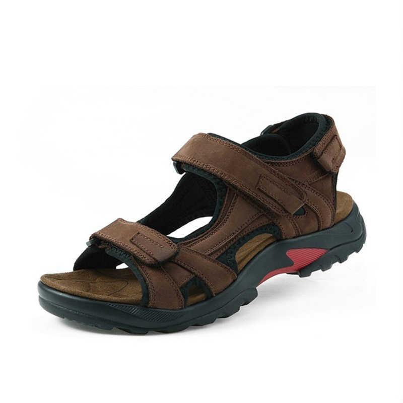 Nieuwe 2020 Merk Mannen Sandalen Slippers Lederen Koeienhuid Sandalen Outdoor Zomer Casual Mannen Kwaliteit Lederen Sandalen Voor Man