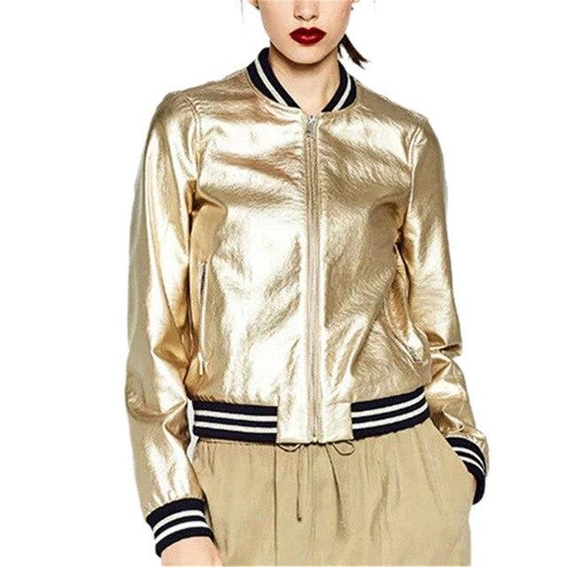 b9fb508f1 2018 Runway Brand Designer Sliver Gold Bomber Jacket Women Basic Coats  Striped Casual Jackets Outwear Jaqueta Feminina-in Basic Jackets from  Women's ...