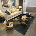 AOVOLL ковры и ковры для дома  гостиной  Европейский черный золотой мир  Карта мира  узор  ковер для гостиной  стол  аксессуары