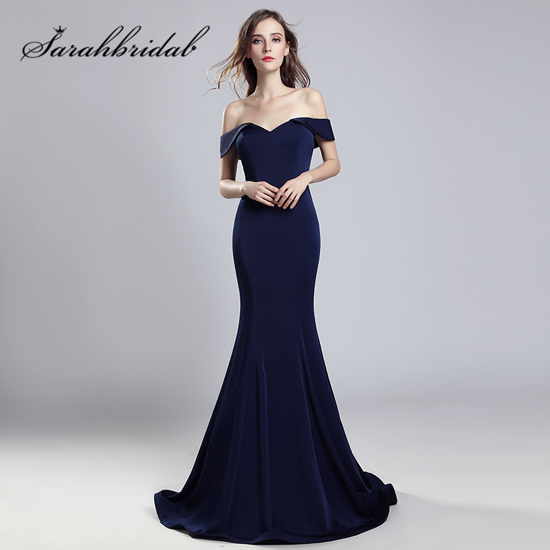 Navy Blue Mermaid   Evening     Dresses   Sexy Off Shoulder Real Photos Long Party Prom Gowns Floor Length Zipper Back CC559