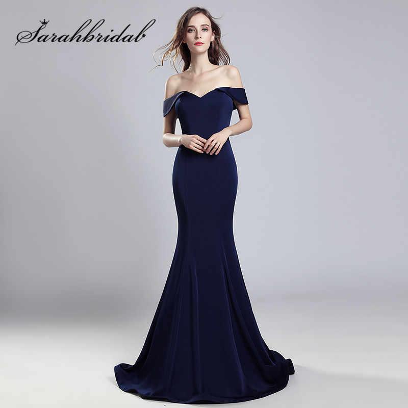 5c755d9f15ef5d4 Темно-синие Русалка Вечерние платья Sexy с открытыми плечами реальные  фотографии длинные выходные туфли на