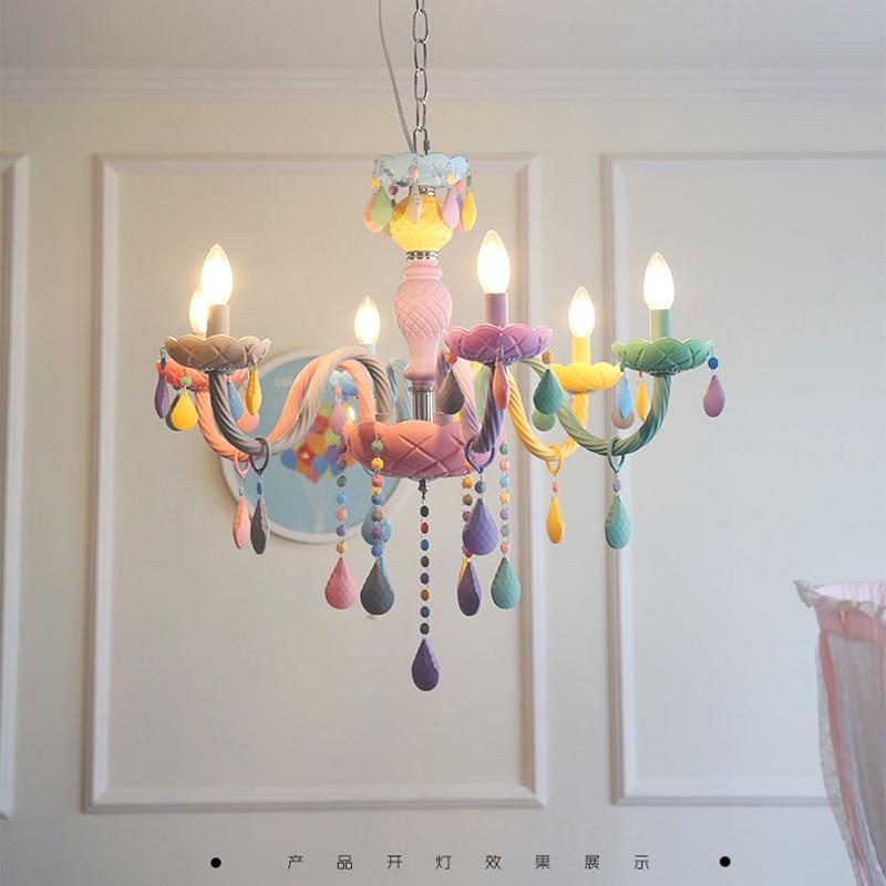 Lustre de cristal macaron cor droplight crianças
