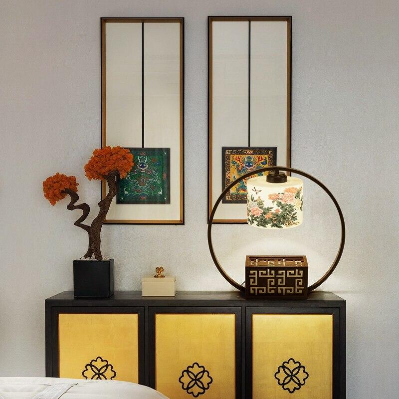 Китайский настольная лампа прикроватная тумбочка для спальни Керамические Hotel клуб гостиная новая классическая настольные лампы za896