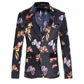 New Fashion Slim Fit Blazer Men Butterfly Print Two Buttons Casual Mens Floral Blazer Jacket Trend Dress Suit Stage For Singer